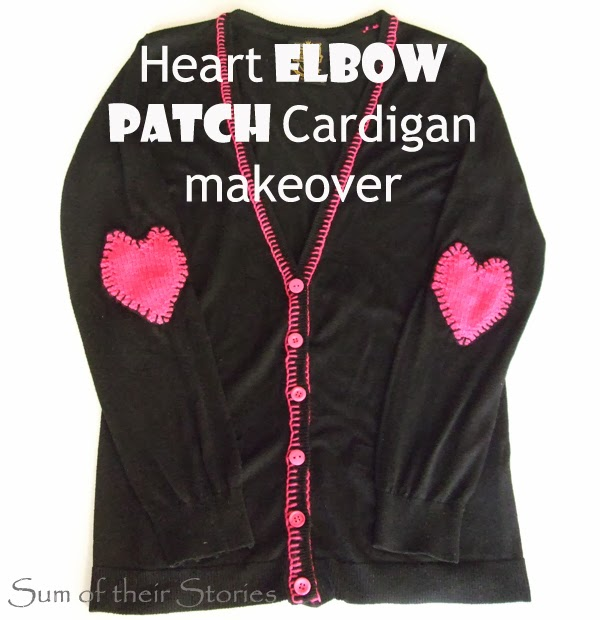 Heart Elbow Patch Cardigan Makeover with Knit Heart Pattern