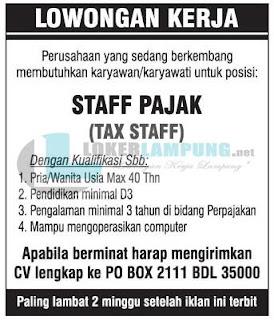 Bursa Lampung Terbaru Agustus 2016 Sebagai Staff Pajak Bandar Lampung