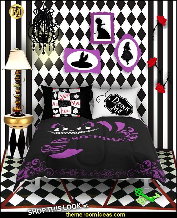 Alice in Wonderland bedroom decor - Alice in wonderland themed rooms - design  an Alice in Wonderland Bedroom  - Alice in Wonderland bedroom ideas - Alice in Wonderland bedding - Alice in Wonderlnd wall decals - Alice in Wonderland wall murals - alice in wonderland wallpaper mural -  tea party theme - Vintage alice in wonderland bedroom furniture - Harlequin stencils