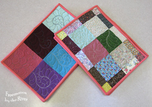 Freemotion quilting sampler place-mats