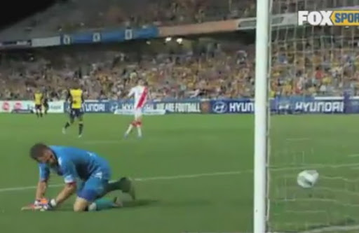 Melbourne Heart goalkeeper Clint Bolton watches in horror as the ball trickles over the line