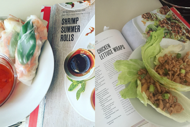 cravings cookbook; shrimp summer rolls; chicken lettuce wraps