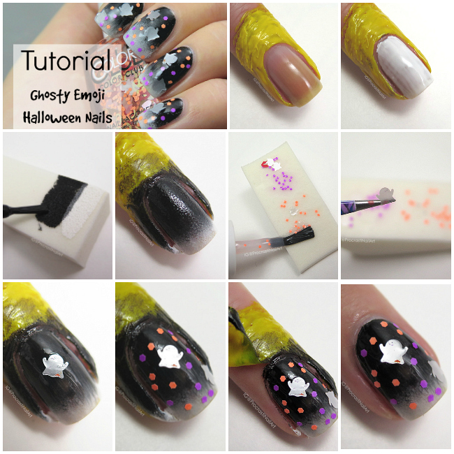 Halloween nail art tutorial with emoji ghost glitter