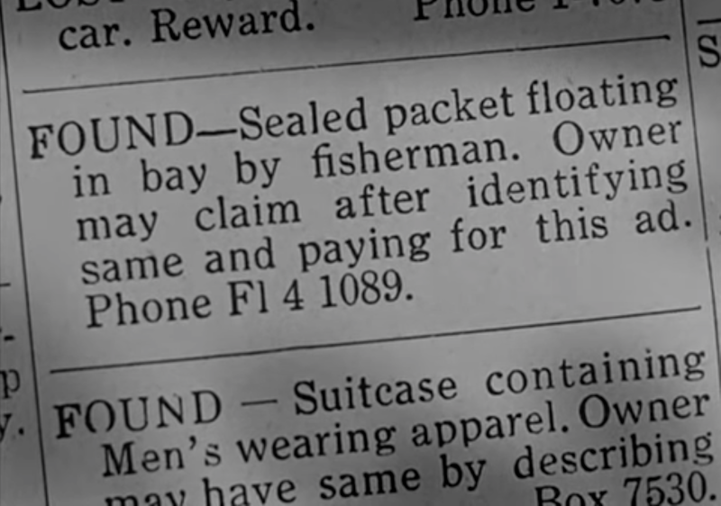 """Classified ad with """"Phone Fl 4 1089"""""""