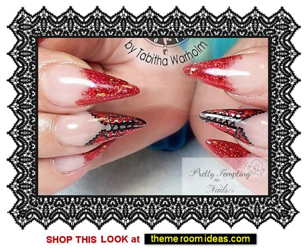 Red Foiled Corset Press On Nails Lacy Burlesque Nail Art Lolita Press On Nails - Vixen nails gothic moulin rouge style nail decorations