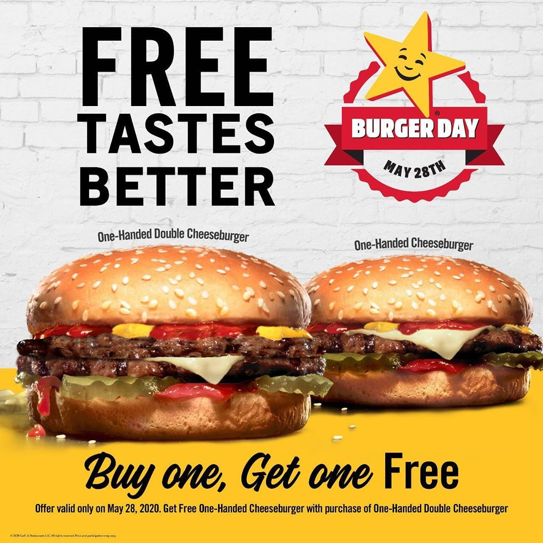 Promo Carls Jr International Burger Day Beli 1 Gratis 1 Hanya Hari Ini!