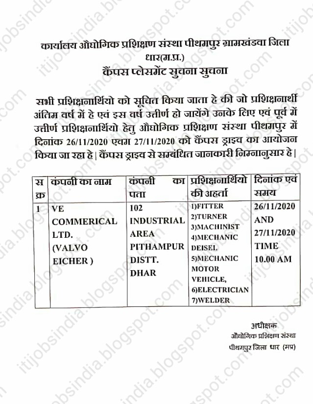 ITI Campus Placement At ITI Pithampur, Dhar, Madhya Pradesh For  VE Commercial Vehicles Ltd.