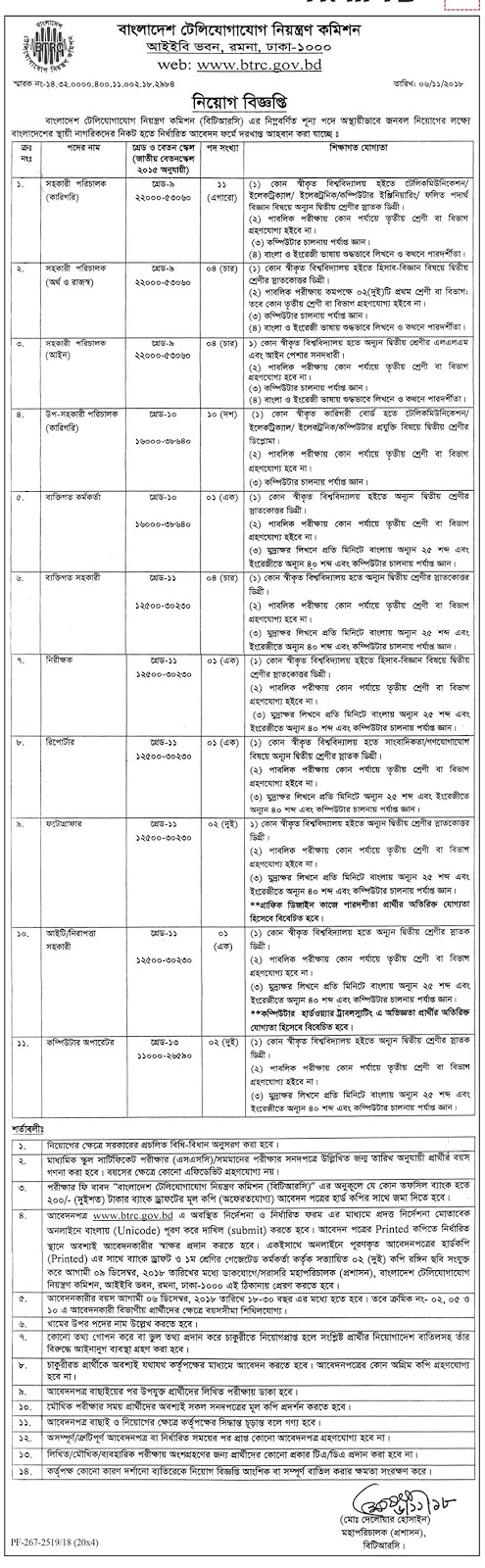 Bangladesh Telecommunication Regulatory Commission Job Circular 2018
