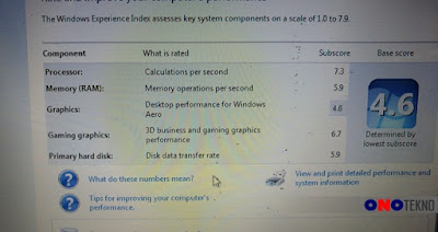 Hasil Windows Experience Index di Windows 7 Intel G4560