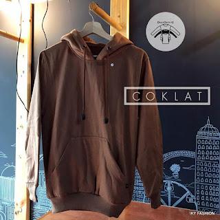model Jaket Sweater polos Coklat cewek cowok kekinian