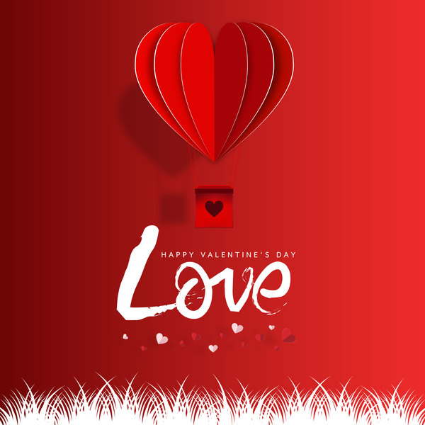 Happy Valentines Day Greeting card with origami vector