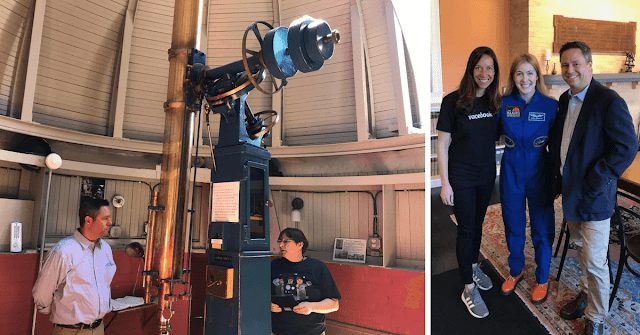 "Dr. Kim Katris McLeod explains how the 6"" Alvin Clark refractor is used at Wellesley College (left) and Facebook Education's Monica Ares, Abigail Harrison (Astronaut Abby) and Insight Observatory  Managing Member / Project Developer Michael Petrasko (right)"