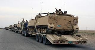 قوات الجيش العراقي ترسل تعزيزات عسكرية كبيرة الى المناطق المتنازع عليها في الموصل