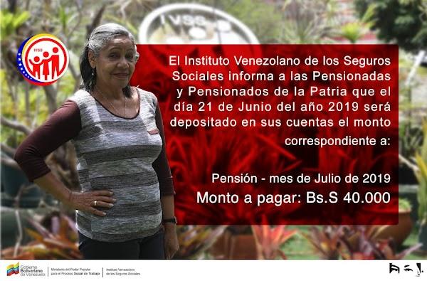 ¡A COBRAR! / IVSS anuncia fecha de pago de pensiones de julio