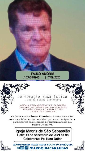 Convite Missa de 1 ano de saudades de Paulo Amorim