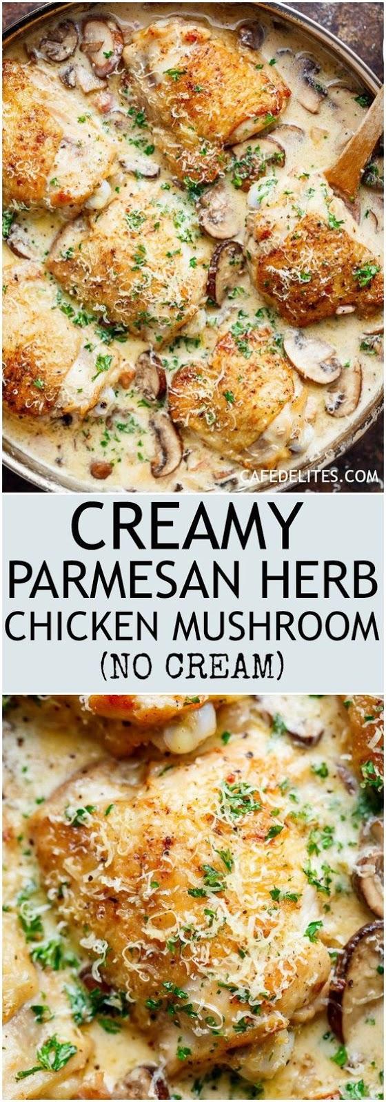 creamy parmesan herb chicken mushroom (no cream option) #recipes #dinnerrecipes #dinnerideas #newdinnerrecipes #newdinnerideas #newdinnerrecipeideas #food #foodporn #healthy #yummy #instafood #foodie #delicious #dinner #breakfast #dessert #lunch #vegan #cake #eatclean #homemade #diet #healthyfood #cleaneating #foodstagram