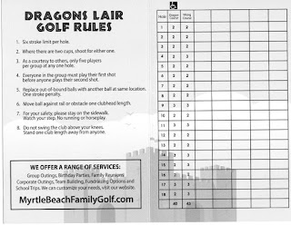 Scorecard from Dragons Lair Fantasy Golf in Myrtle Beach. From Pat Sheridan / The Putting Penguin