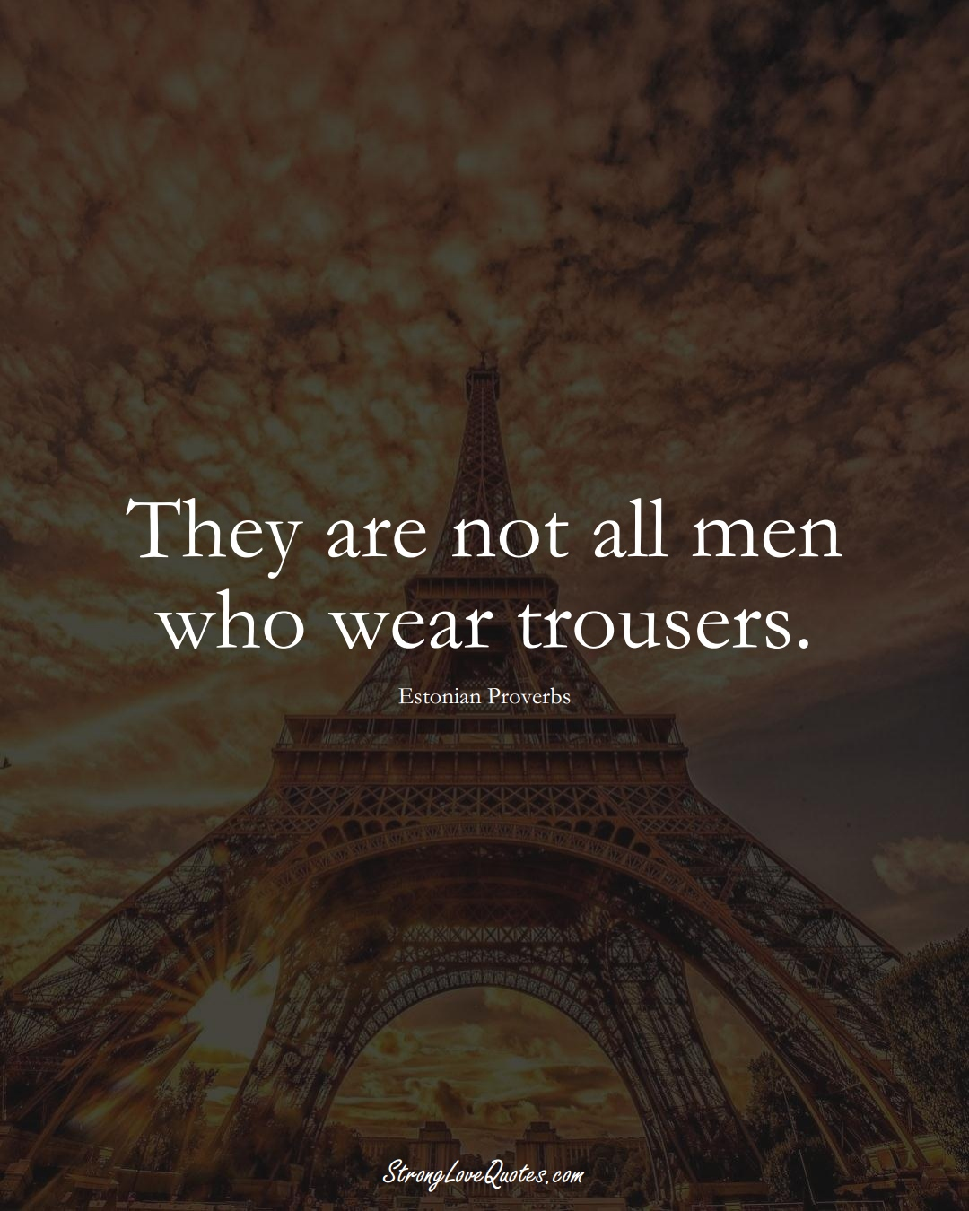They are not all men who wear trousers. (Estonian Sayings);  #EuropeanSayings