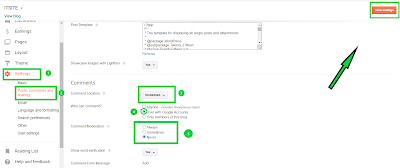 Blogger comments settings