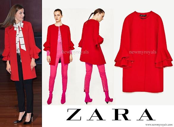 Queen Letizia wore a ZARA Frilled Sleeve Coat
