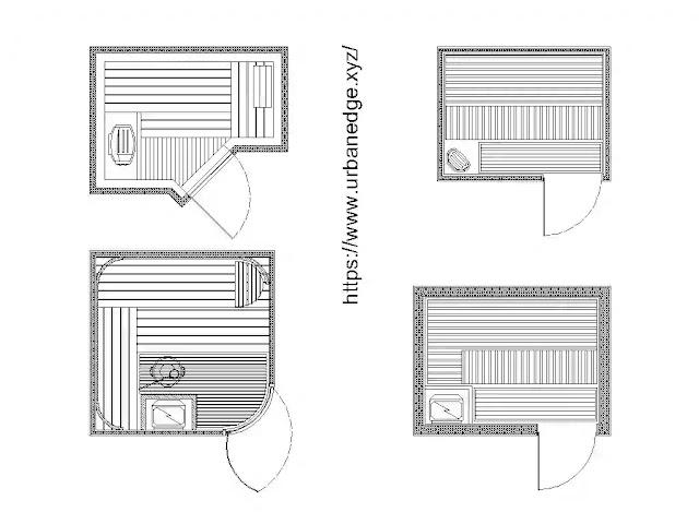 Sauna & Spa cad blocks free download, Sauna dwg blocks