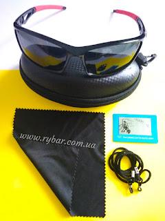 Поляризаційні сонце-захисні окуляри (чорні, червона ручка 301)
