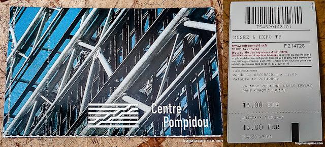 Ingresso para o Beaubourg, Centro Georges Pompidou, Paris