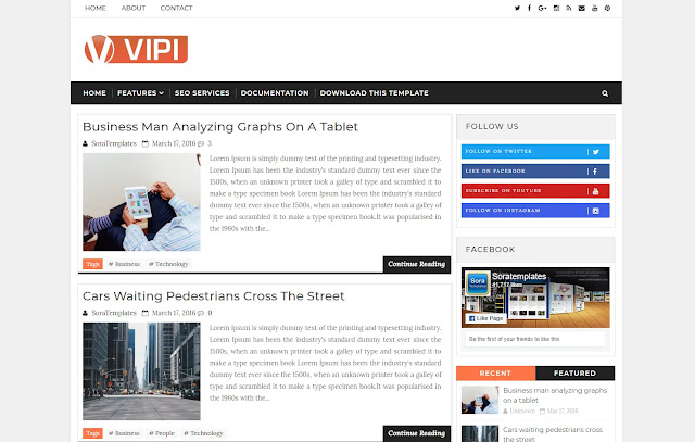 Vipi Responsive Personal Blog Trending Viral Sites Blogger Template Theme