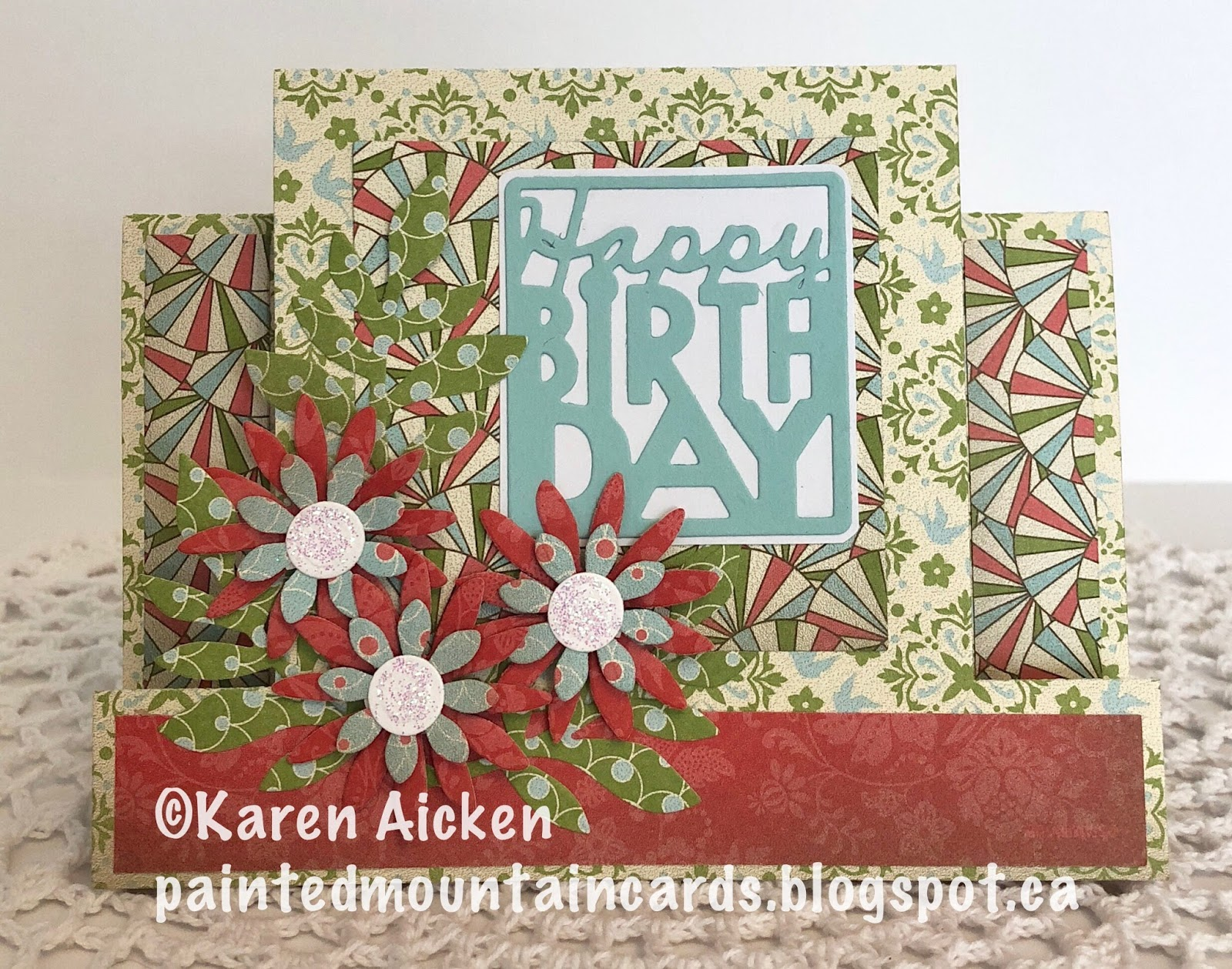 Painted Mountain Cards Birthday Flowers Centre Step Card