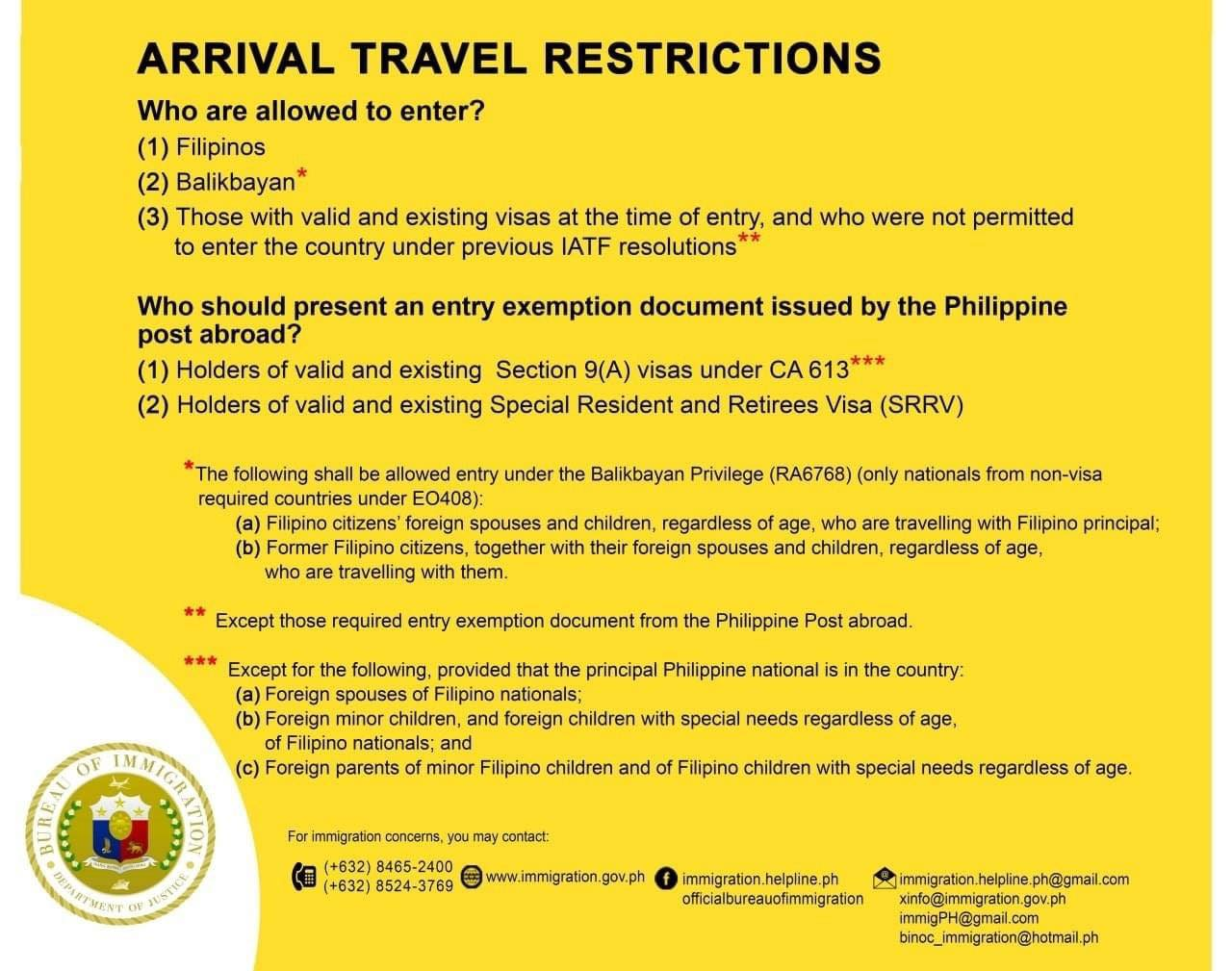 Philippines Arrival Travel Restrictions Infographic
