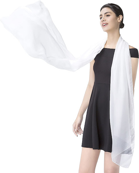 Long White Silk Scarf