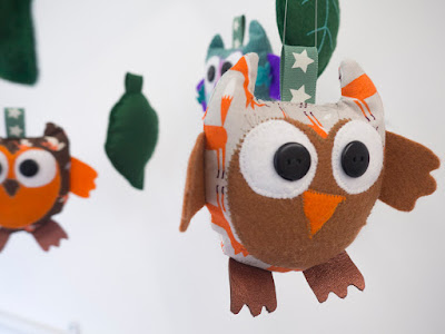 Owls hanging nursery mobile by welaughindoors