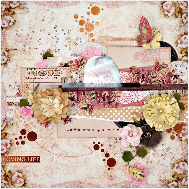 Loving Life Playful Shabby Chic Scrapbook Layout by Dana Tatar for Scraps of Darkness Kit Club - February Our Story Kit