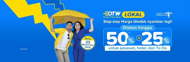 Promo Online Tiket Week Diskon Hingga 50% + 25% Pesawat & Hotel di Tiket.com (Mulai 23 NOvember 2020)