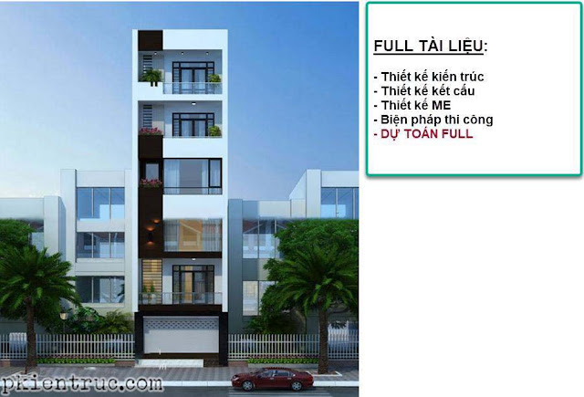 Mặt đứng nhà phố 4x22 mét 6 tầng ở tân phú