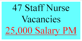 47 Staff Nurse Vacancies-25,000 Salary