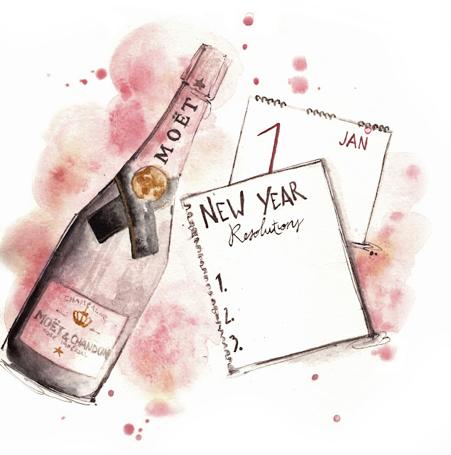 Alessia Landi illustration watercolor champagne new year resolution