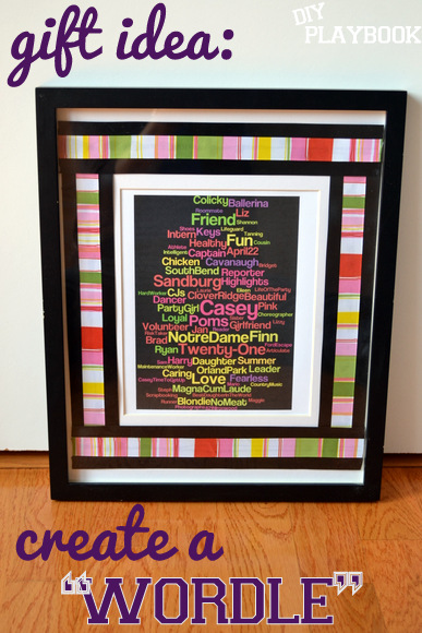 Gift Wordle in a frame