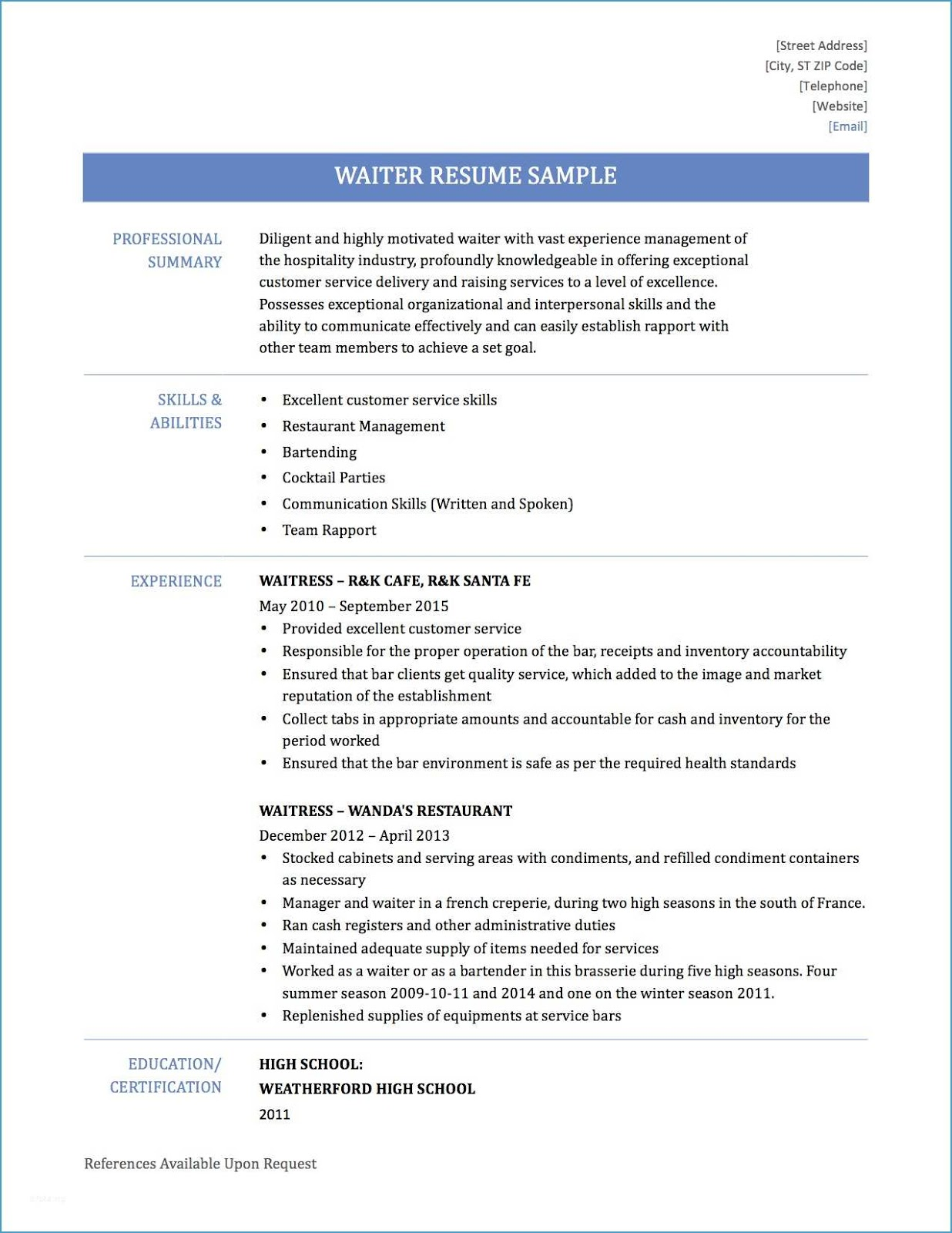 Waiter Resume Sample 2019 Pdf Examples 2020