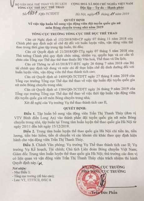 LĐBCVN đã có quyết định tập trung bổ sung Thanh Thúy!
