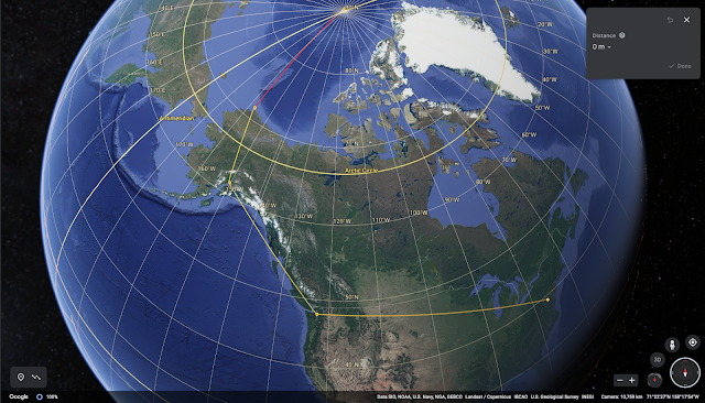 Google Earth view of Washington DC to Seattle to Anchorage to Barrow (c) google