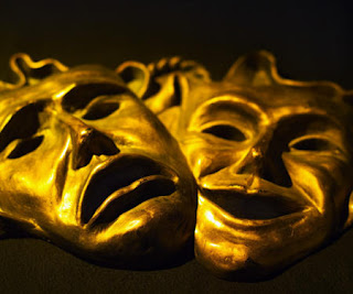Theater masks, sad face happy face, tragedy and comedy