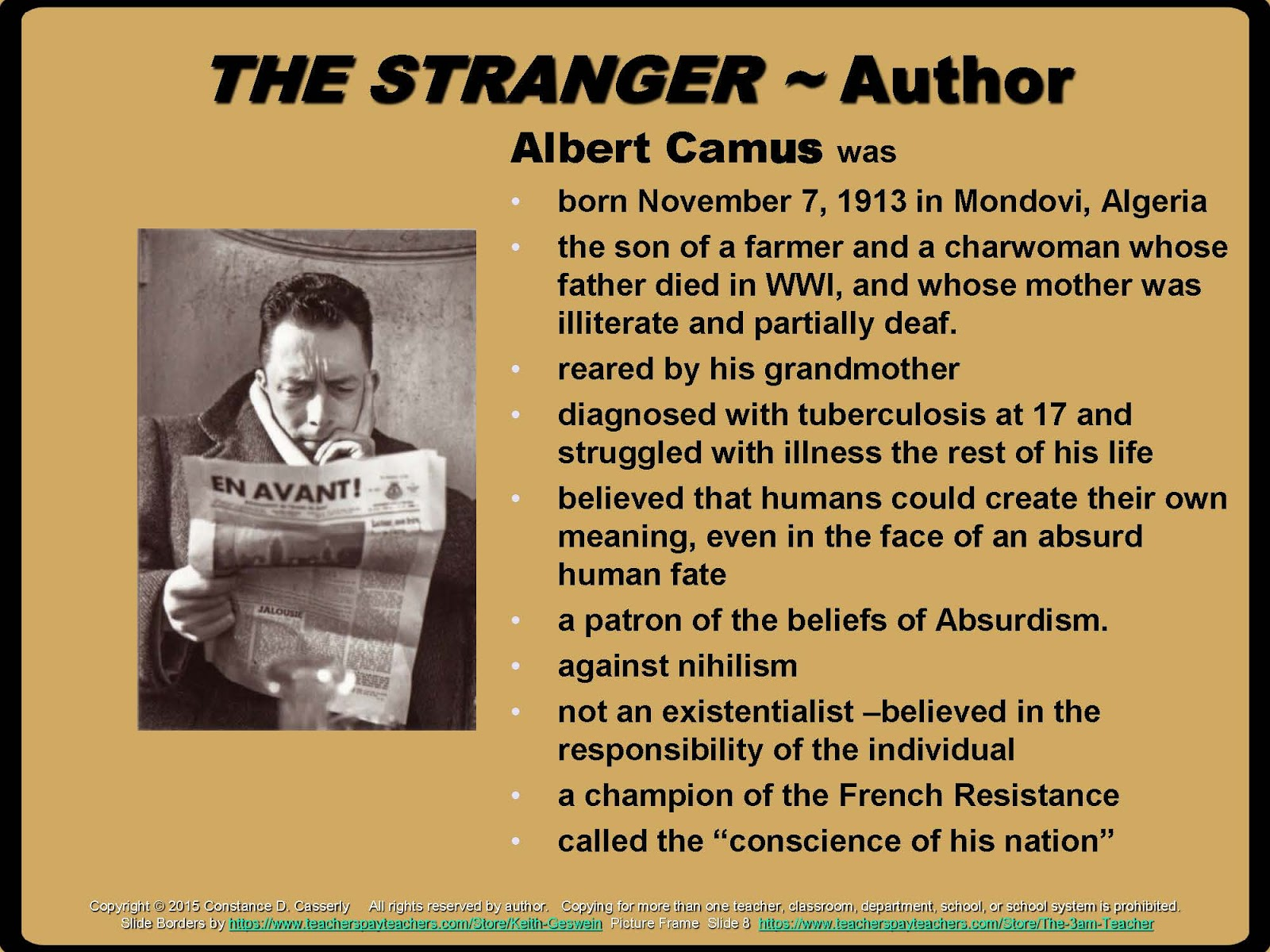 teach it write english teachers the stranger bundle offers a the stranger bulletin board albert camus slide