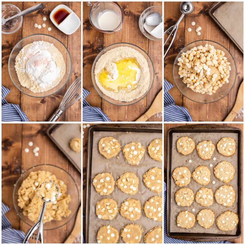 Six photos of the process of making Keto White Chocolate Macadamia Nut Cookies.