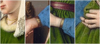 Jan van Eyck's Arnolfini Portrait contains gold jewelleries of Arnolfini's wife Costanza Trenta in order to show opulence