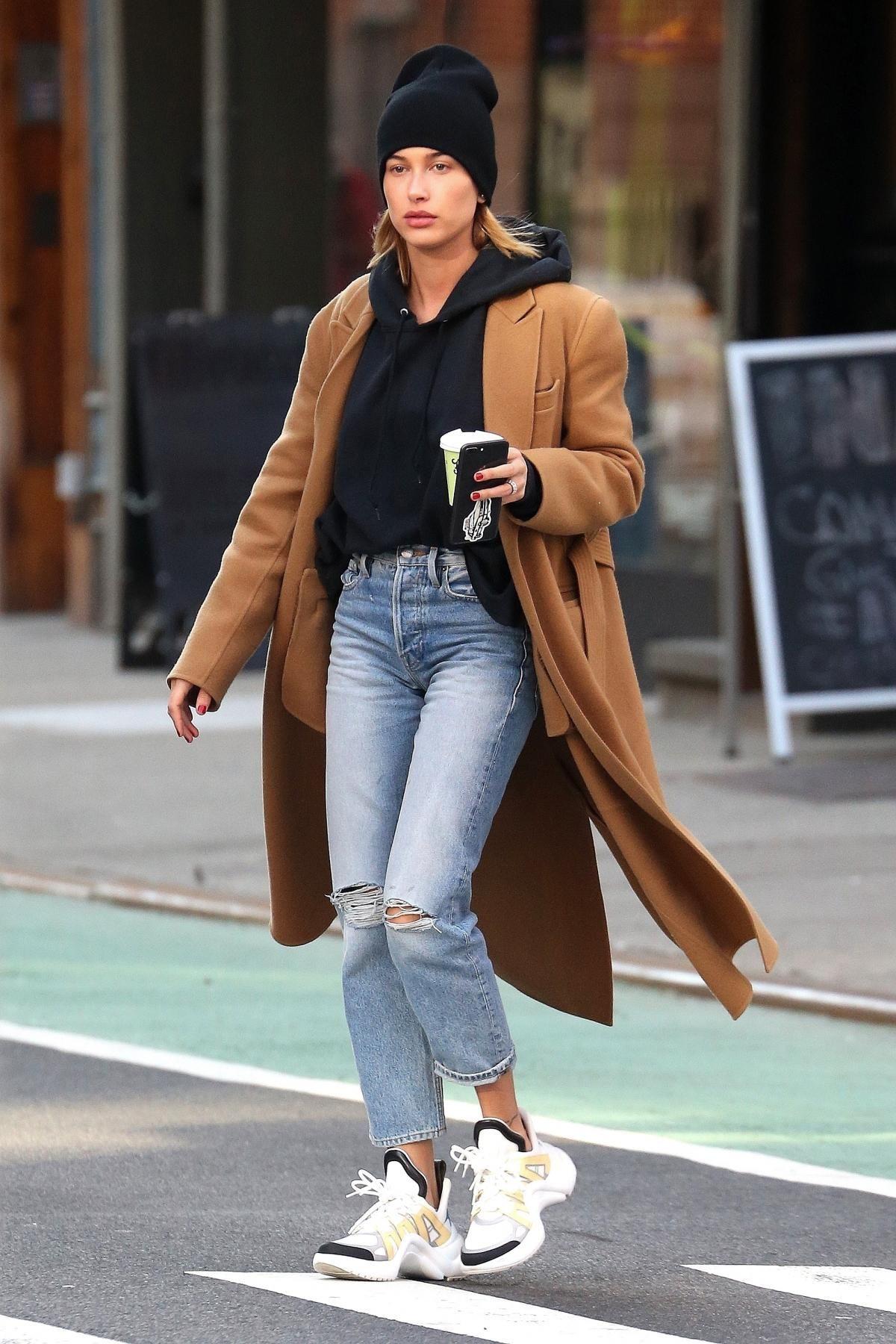 Hailey Bieber Wearing brown coat