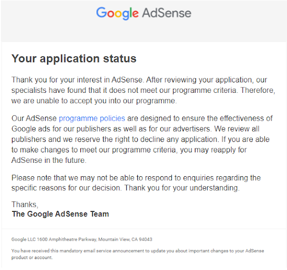 Adsense rejection on programme policies