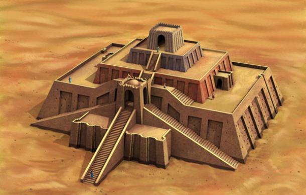 Storia dell'arte la mezzaluna fertile i sumeri  ricostruzione ziqqurat di Ur