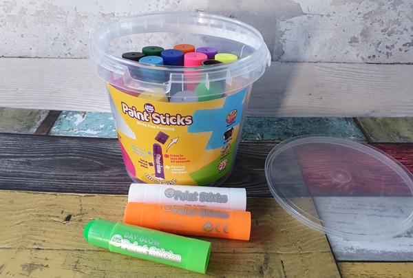 Paint Stick Bucket full of paint sticks
