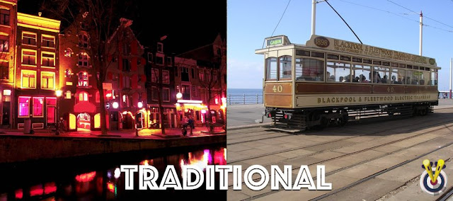 Split photo of Amsterdam at night plus a Blackpool Tram